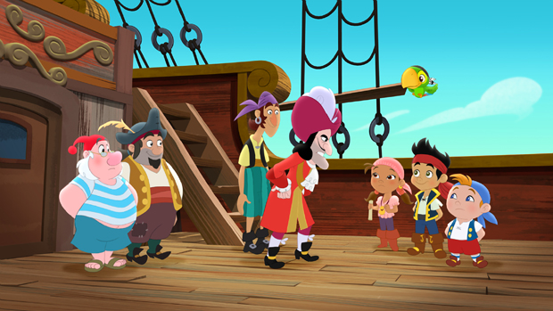 "JAKE AND THE NEVER LAND PIRATES - ""Mystery of the Missing Treasure"" - Jake and his friends search for the culprit who stole the Team Treasure Chest from Pirate Island Beach. This episode of ""Jake and the Never Land Pirates"" airs Friday, January 3 (8:30 AM - 9:00 AM ET/PT), on Disney Junior. (DISNEY JUNIOR) MR. SMEE, SHARKY, BONES, CAPTAIN HOOK, IZZY, SKULLY, JAKE, CUBBY"